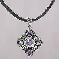 Amethyst pendant necklace, 'Klungkung Majesty' - Amethyst and 925 Sterling Silver Pendant Necklace from Bali