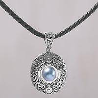 Cultured mabe pearl pendant necklace, 'Dark Sanur Shield' - Cultured Mabe Pearl and Sterling Silver Necklace from Bali