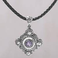 Amethyst pendant necklace, 'Candi Flower' - Amethyst and 925 Sterling Silver Pendant Necklace from Bali