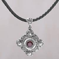 Garnet pendant necklace, 'Candi Flower' - Garnet and 925 Sterling Silver Pendant Necklace from Bali