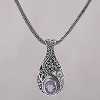 Amethyst pendant necklace, 'Patterns of the World' - Amethyst and 925 Sterling Silver Pendant Necklace from Bali