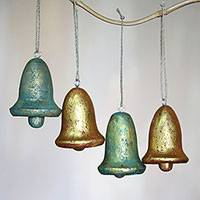 Wood ornaments, 'Yuletide Bells' (set of 4) - Four Gold Tone Distressed Wood Bell Ornaments from Bali