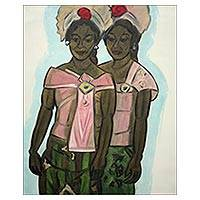 'Gone Praying' (2012) - Oil on Canvas Signed Portrait of Women Going to Temple