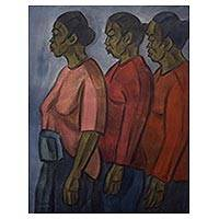 'Market Women' - Oil on Canvas Painting of Market Women in Java