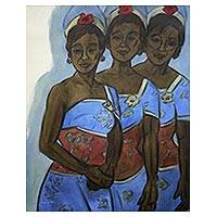 'Backstage Dancers' - Original Balinese Dance Theme Portrait in Shades of Blue