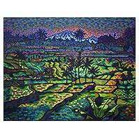 'Mount Agung View' (2015) - Signed 49-Inch Pointillist Painting of a Balinese Landscape