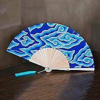 Batik cotton fan, 'Reflecting Pool Clouds' - Batik Clouds Cotton Fan with Mahogany Handle from Bali