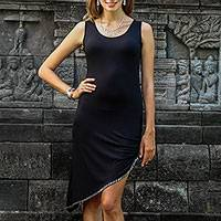 Beaded cotton dress, 'Flamboyant Soul' - Balinese Beaded Little Black Dress with an Asymmetrical Hem