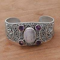 Rainbow moonstone and amethyst cuff bracelet, 'Misty Bouquet'