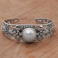 Cultured pearl cuff bracelet, 'Moonlight Vines' - Floral Cultured Pearl Cuff Bracelet and 925 Silver from Bali