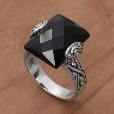Rectangle Onyx and Sterling Silver Cocktail Ring from Bali