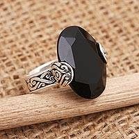 Onyx cocktail ring, 'Mysterious Oval'