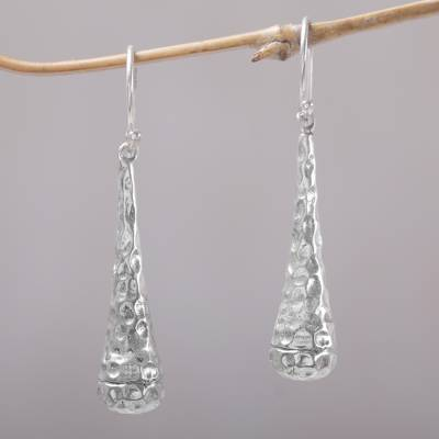 Sterling silver dangle earrings, 'Beehives' - Textured 925 Sterling Silver Dangle Earrings from Bali