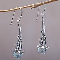 Blue topaz dangle earrings, 'Petal Drops' - Blue Topaz and Sterling Silver Floral Earrings from Bali