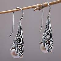 Cultured pearl drop earrings, 'Emerging Beauty' - Cultured Pearl and Sterling Silver Drop Earrings from Bali
