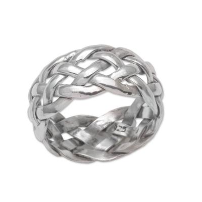 Sterling silver band ring, 'Celuk Braid' - Artisan Crafted Sterling Silver Woven Band Ring from Bali