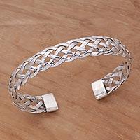 Sterling silver cuff bracelet, 'Celuk Braid'