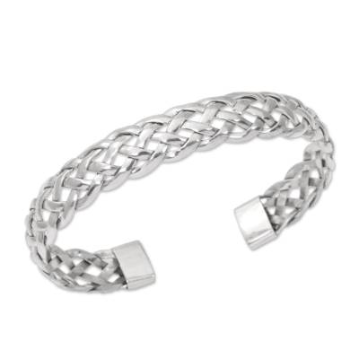 Sterling silver cuff bracelet, 'Celuk Braid' - Artisan Crafted 925 Sterling Silver Cuff Bracelet from Bali