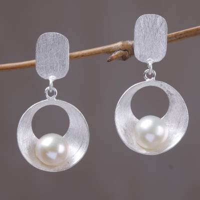 Cultured mabe pearl dangle earrings, 'Moon Vortex' - Cultured Mabe Pearl and Sterling Silver Earrings from Bali