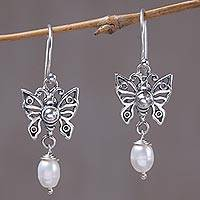 Cultured pearl dangle earrings, 'Butterfly Glow' - Cultured Pearl Butterfly Dangle Earrings from Mexico