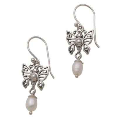 Cultured Pearl Butterfly Dangle Earrings from Mexico