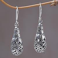 Sterling silver dangle earrings, 'Spiral Fruit' - Sterling Silver Spiral Motif Dangle Earrings from Mexico