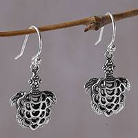 Sterling silver dangle earrings, 'Skeleton Turtles' - 925 Sterling Silver Turtle Dangle Earrings from Bali