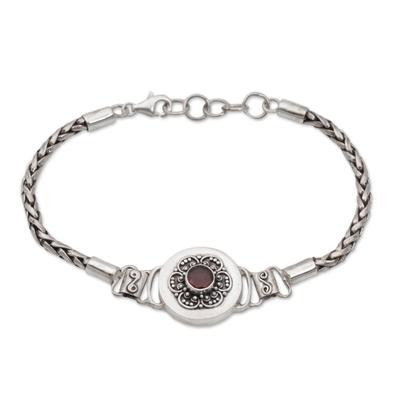 Garnet pendant bracelet, 'Center of Paradise' - Garnet and Sterling Silver Pendant Bracelet from Bali