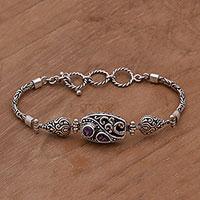 Amethyst pendant bracelet, 'Florid Harmony' - Amethyst and Sterling Silver Pendant Bracelet from Bali