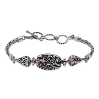 Amethyst and Sterling Silver Pendant Bracelet from Bali