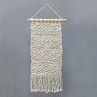 Cotton wall hanging, 'Woven Scroll' - Handmade Cotton and Bamboo Wall Hanging from Indonesia