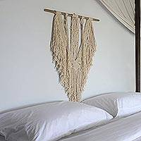 Cotton wall hanging, 'Arrow Temple' - Handmade Cotton and Bamboo Wall Hanging from Indonesia