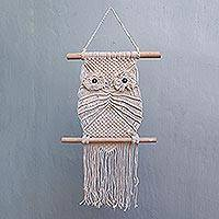 Cotton wall hanging, 'Natural Owl' - Cotton and Bamboo Owl Wall Hanging from Indonesia