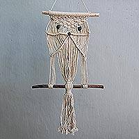 Cotton wall hanging, 'Owl Charm' - Handmade Cotton and Bamboo Owl Wall Hanging from Indonesia