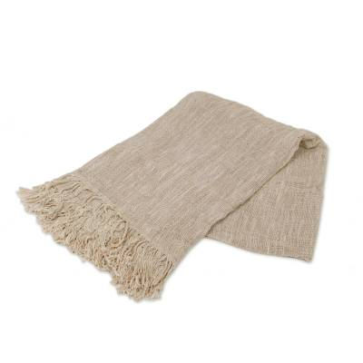Cotton throw, 'Alabaster Madura' - Handwoven Cotton Throw Blanket in Alabaster from Bali