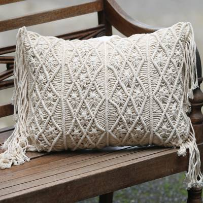 Cotton cushion cover, 'Fisherman's Weave' - Small Handwoven Cotton Cushion Cover in Ecru from Bali