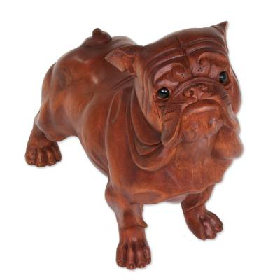 Suar Wood and Onyx Sculpture of a Bulldog by Bali Artisans
