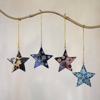 Batik wood ornaments, Bali Stars (set of 4)