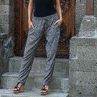 Rayon pants, 'Weekend Getaway' - Handmade Black and White Rayon Pants from Indonesia