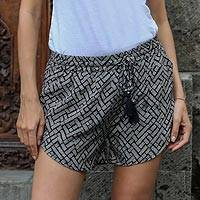 Rayon shorts, 'Weekend Getaway' - Handmade Black and White Rayon Shorts from Indonesia