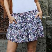 Rayon shorts, 'Pretty in Paisley' - Handmade Rayon Shorts with Paisley Motif from Indonesia