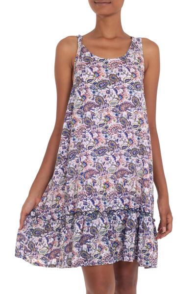 Handmade Sleeveless Rayon Dress with Paisley Pattern