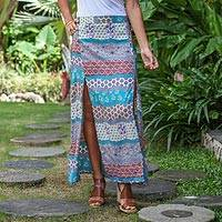 Rayon maxi skirt, 'Morning in Paradise' - Turquoise and Grey Long Rayon Skirt from Indonesia