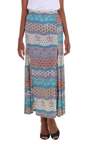 Turquoise and Grey Long Rayon Skirt from Indonesia