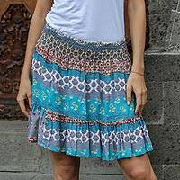 Rayon miniskirt, 'Morning in Paradise' - Turquoise and Grey Rayon Skirt from Indonesia