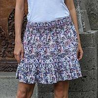 Rayon miniskirt, 'Pretty in Paisley' - Handmade Rayon Skirt with Paisley Motif from Indonesia