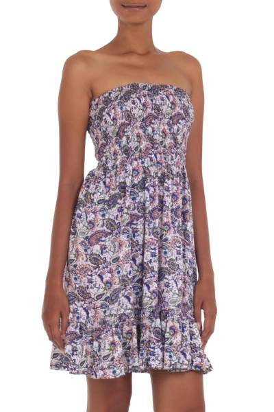 Strapless Rayon Dress with Paisley Print from Indonesia