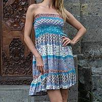 Rayon sundress, 'Morning in Paradise' - Short Strapless Rayon Dress from Indonesia