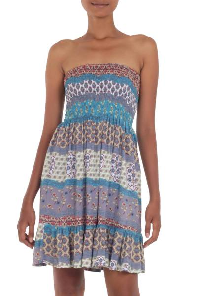 Short Strapless Rayon Dress from Indonesia