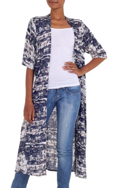 Handmade Blue and White Rayon Kimono Jacket from Indonesia